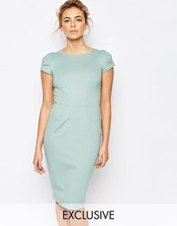 Closet Pencil Midi Dress With Ruched Cap Sleeve Mint