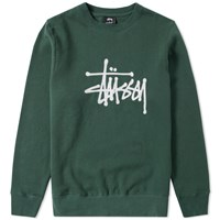 Stussy Chain Stitch Applique Crew Sweat Green