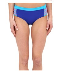 Dkny A Lister Hipster Bottom W Stripping Detail Electric Women's Swimwear Blue
