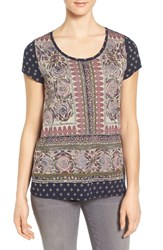 Lucky Brand Women's Painted Border Print Tee