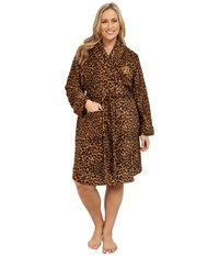 Lauren Ralph Lauren Plus Size Folded So Soft Terry Short Robe Keene Leopard Women's Robe Brown