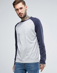 Original Penguin Baseball Long Sleeve T Shirt Grey