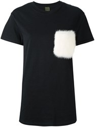 Mr And Mrs Italy Fur Pocket T Shirt Black