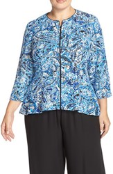 Plus Size Women's Alex Evenings Print Lace Zip Front Peplum Jacket