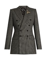 Dolce And Gabbana Prince Of Wales Checked Wool Blazer Grey