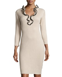 Neiman Marcus Ruffle Collar Ribbed Dress Sleek Beige