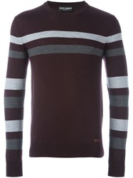Dolce And Gabbana Contrast Stripe Jumper Red