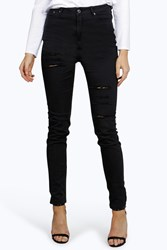 Boohoo 5 Pkt High Rise Ripped Skinny Jeans Black