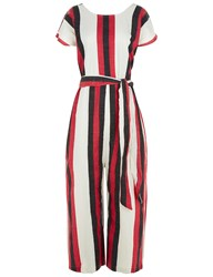 Ace And Jig Red Striped Cotton Belted Jumpsuit Multi