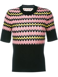 Marni Geometric Short Sleeved Jumper Black