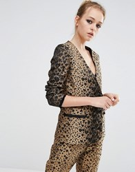 Sister Jane Blazer In Heart Leopard Print Co Ord Gold