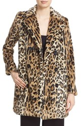 Alice Olivia Women's 'Montana' Leopard Print Faux Fur Double Breasted Coat