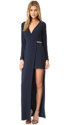 Halston Asymmetrical V Neck Gown Navy