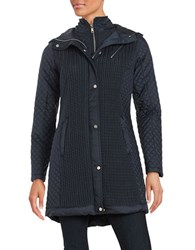 Jones New York Hooded Quilted Coat Navy Blue