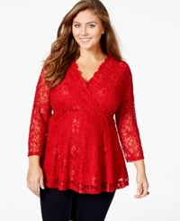 American Rag Plus Size Lace Surplice Top Only At Macy's Chili Pepper