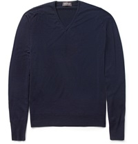 John Smedley Bobby Merino Wool V Neck Sweater Blue