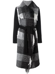 Twin Set Plaid Fringed Coat Black