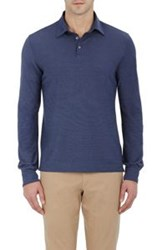 Zanone Men's Slub Knit Long Sleeve Polo Shirt Blue