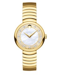 Movado Myla Yellow Goldplated Stainless Steel Curved Link Bracelet Watch