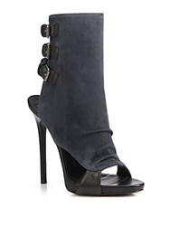 Giuseppe Zanotti Suede And Leather Buckled Peep Toe Booties Brown