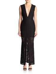 Nicholas Sheer Skirt Lace Deep V Neck Gown Black