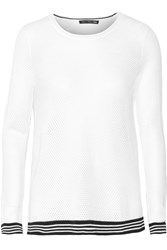 Rag And Bone Nikki Split Black Open Knit Sweater White
