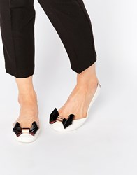 Ted Baker Faiyte Oversized Bow Ballet Flat Shoes Cream And Black