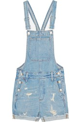 Madewell Distressed Denim Overalls Blue