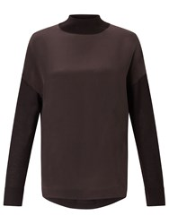 Jigsaw Silk Fronted Sweater Cocoa
