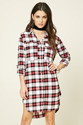 Forever 21 Plaid Flannel Shirt Dress Ivory Red