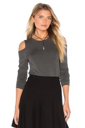 1.State Long Sleeve Cold Shoulder Top Charcoal