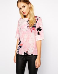 Warehouse Placement Floral Elbow Tee Pink