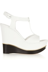 Casadei Two Tone Leather Wedge Sandals