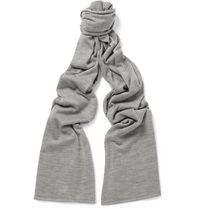 John Smedley Helden Knitted Cashmere And Silk Blend Scarf Gray