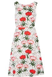 Erdem Maia Floral Print Cotton Blend Pique Dress White Red