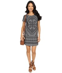 Lucky Brand Placed Bandana T Shirt Dress Black Multi Women's Dress