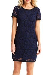 Donna Morgan Women's Lace Short Sleeve Shift Dress Navy