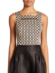 Phoebe Couture Jacquard Embellished Cropped Top Gold Black