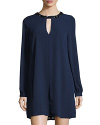 Bcbgmaxazria Embellished Neck Long Sleeve Shift Dress Dark Blue