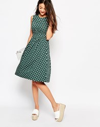 Emily And Fin Emily And Fin Lucy Midi Dress In Polka Dot Print Green