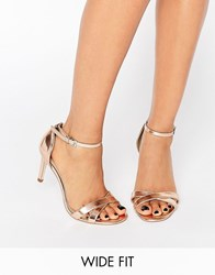 Asos Hide And Seek Wide Fit Heeled Sandals Nude Metallic Beige