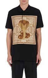 Givenchy Men's Cobra Graphic Appliqued Pique Polo Shirt Black