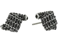 Marc Jacobs Pave Twisted Studs Earrings Jet Antique Silver Earring