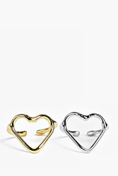 Boohoo Heart Shaped Ring Pack Multi
