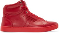 Dolce And Gabbana Red London High Top Sneakers