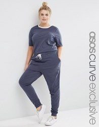 Asos Curve Casual Jumpsuit With Short Sleeve And Contrast Neck Navy