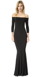 Norma Kamali Kulture Off Shoulder Fishtail Gown Black