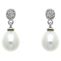 Finesse Glass Faux Pearl And Cubic Zirconia Drop Earrings Silver White