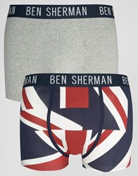 Ben Sherman 2 Pack Boxers With Union Jack Print Navy