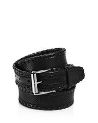 John Varvatos Star Usa Whipstitch Perforated Leather Belt Black